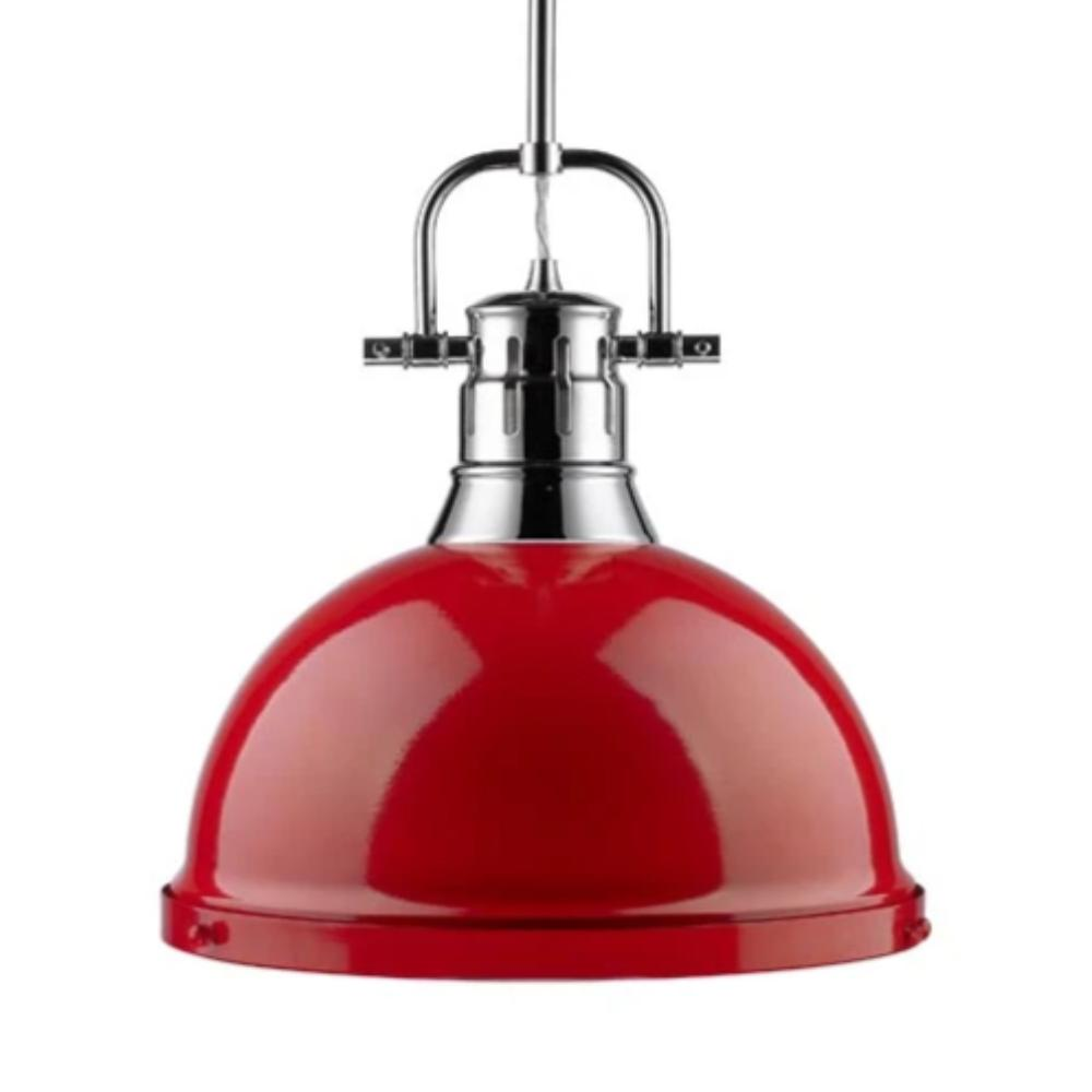 Duncan Large Pendant with Rod in Chrome, Pendant, Red