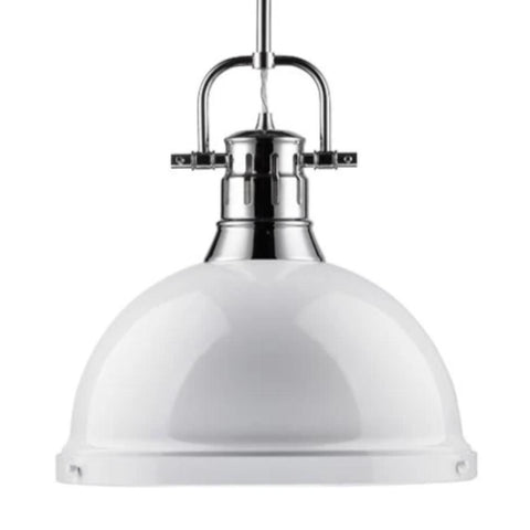 Duncan Large Pendant with Rod in Chrome, Pendant, White