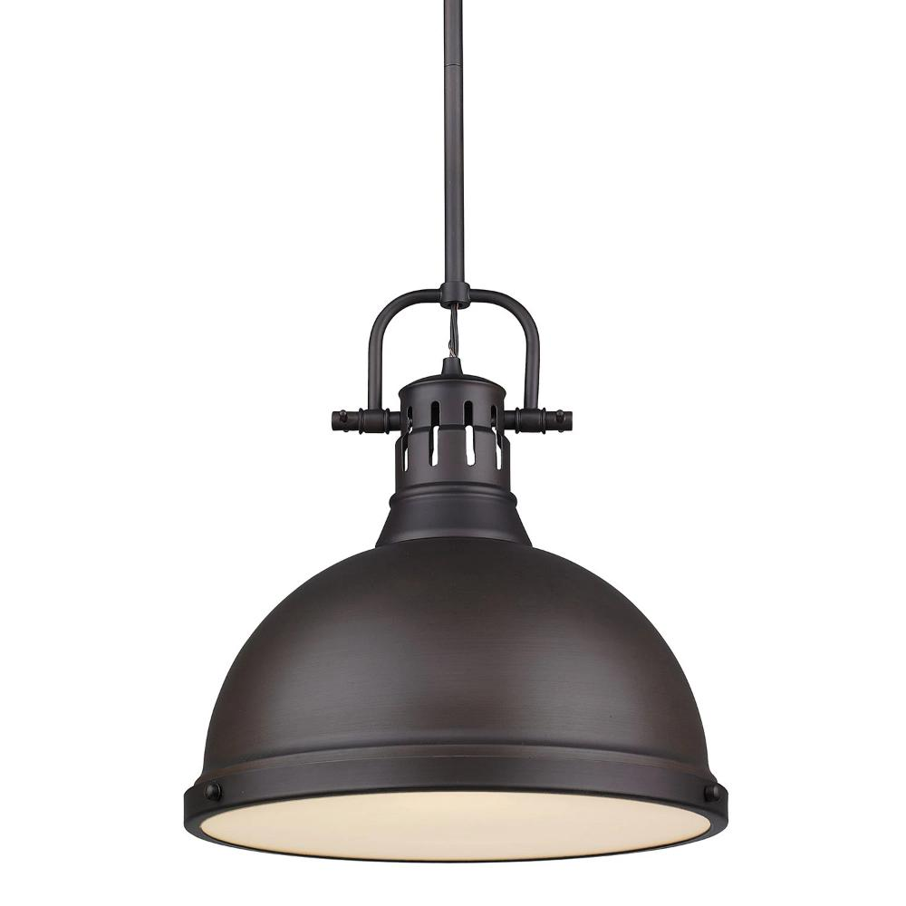 Elm Large Pendant with Rod in Rubbed Bronze