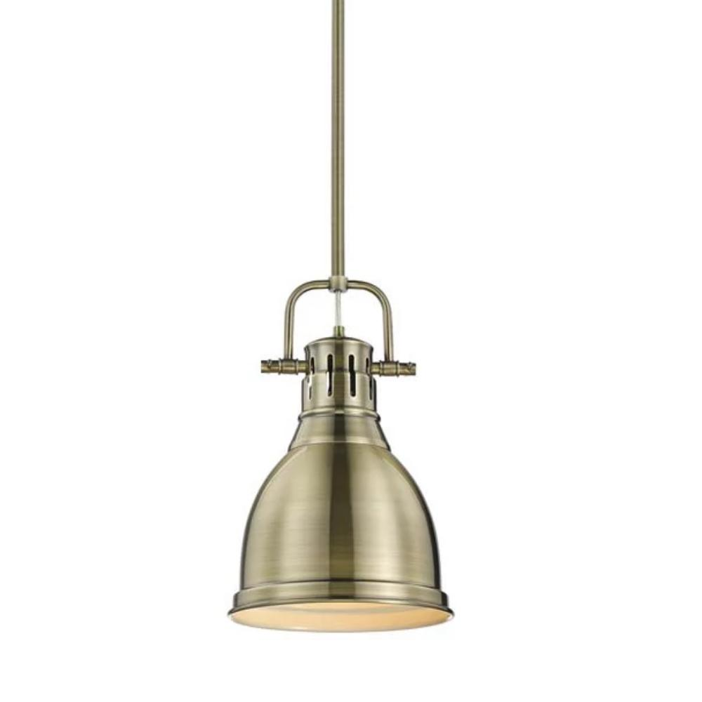 Duncan Small Pendant with Rod, Aged Brass, Aged Brass Shade