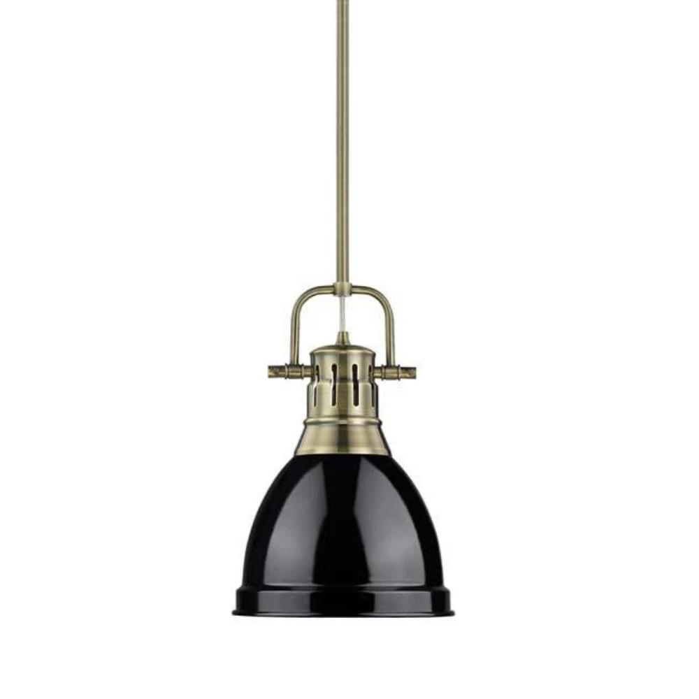 Duncan Small Pendant with Rod, Aged Brass, Black Shade