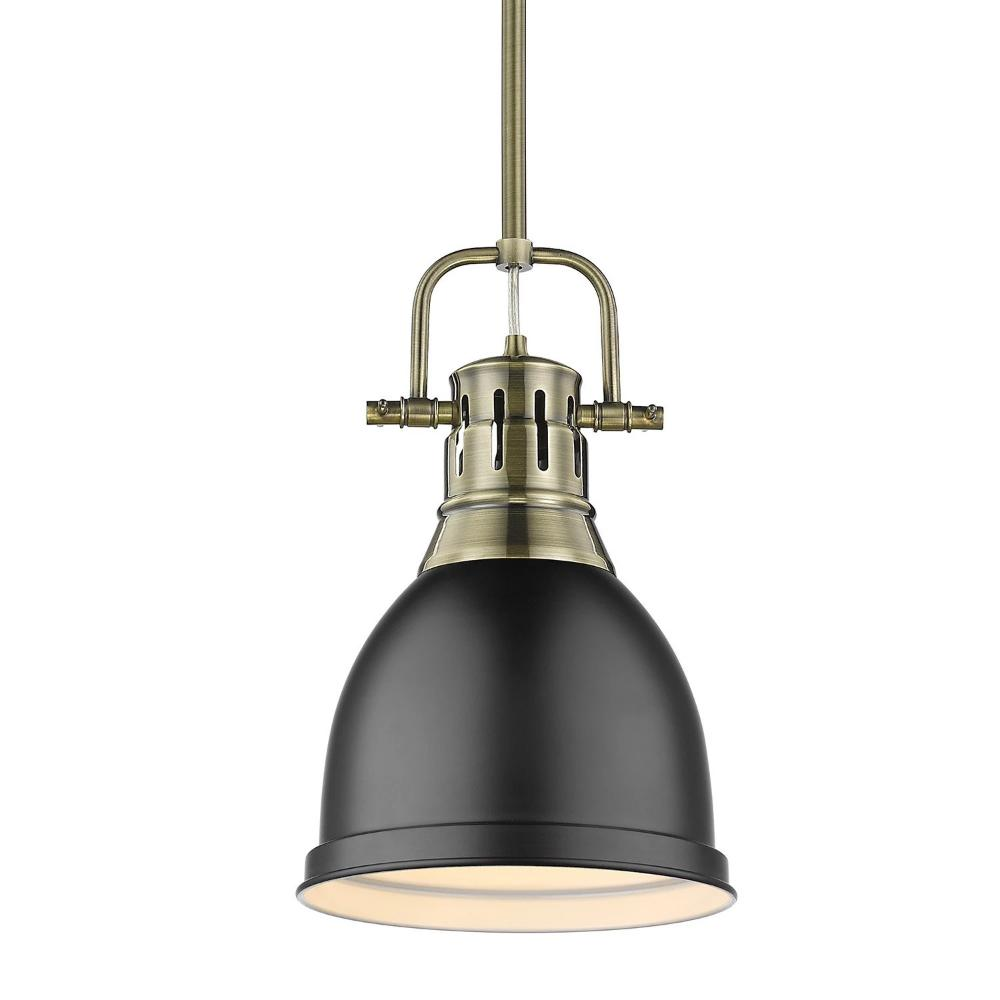 Duncan Small Pendant with Rod, Aged Brass, Matte Black Shade