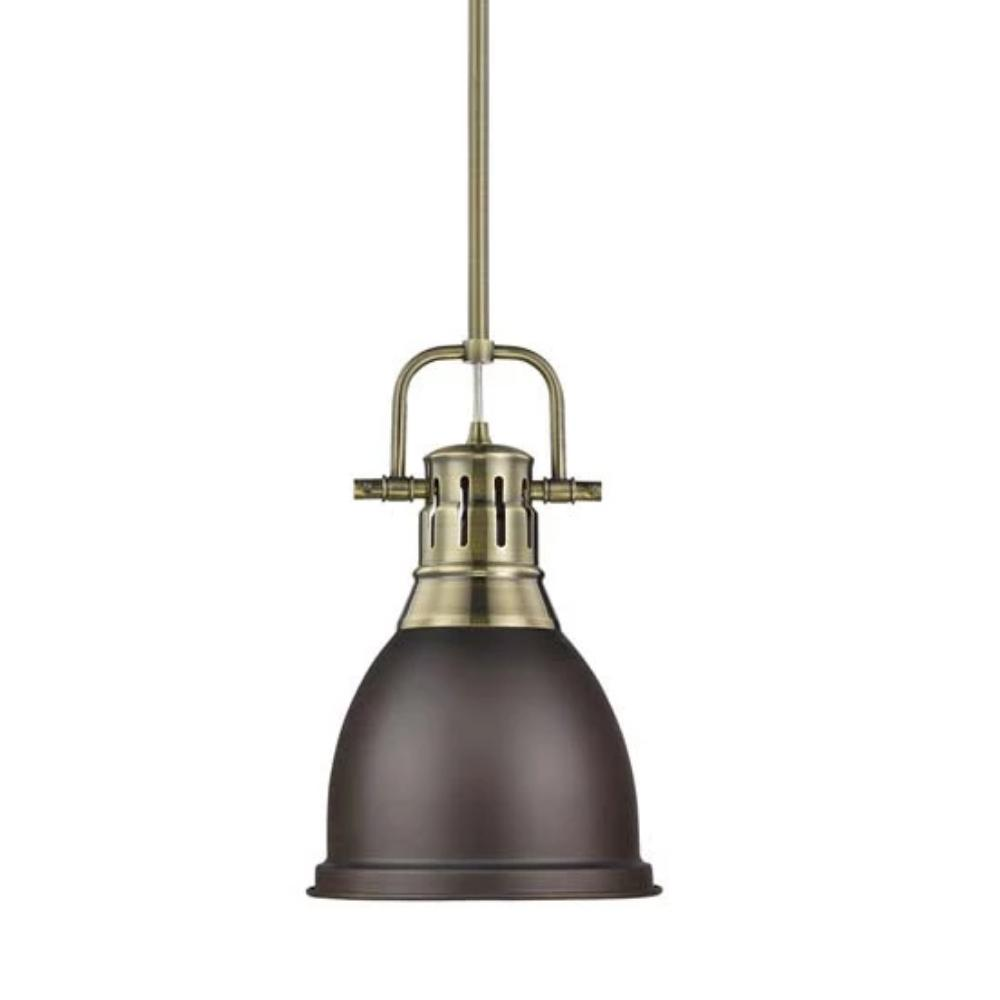 Duncan Small Pendant with Rod, Aged Brass, Rubbed Bronze Shade