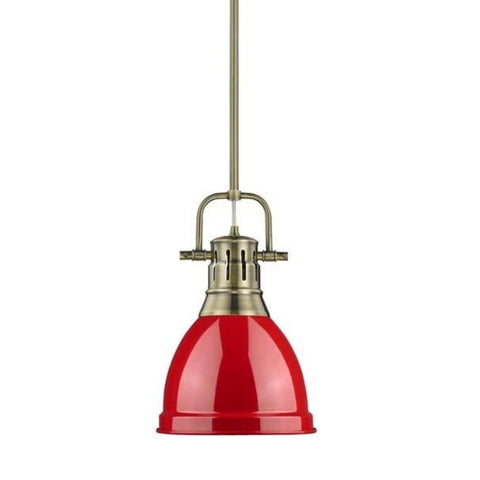 Duncan Small Pendant with Rod, Aged Brass, Red Shade