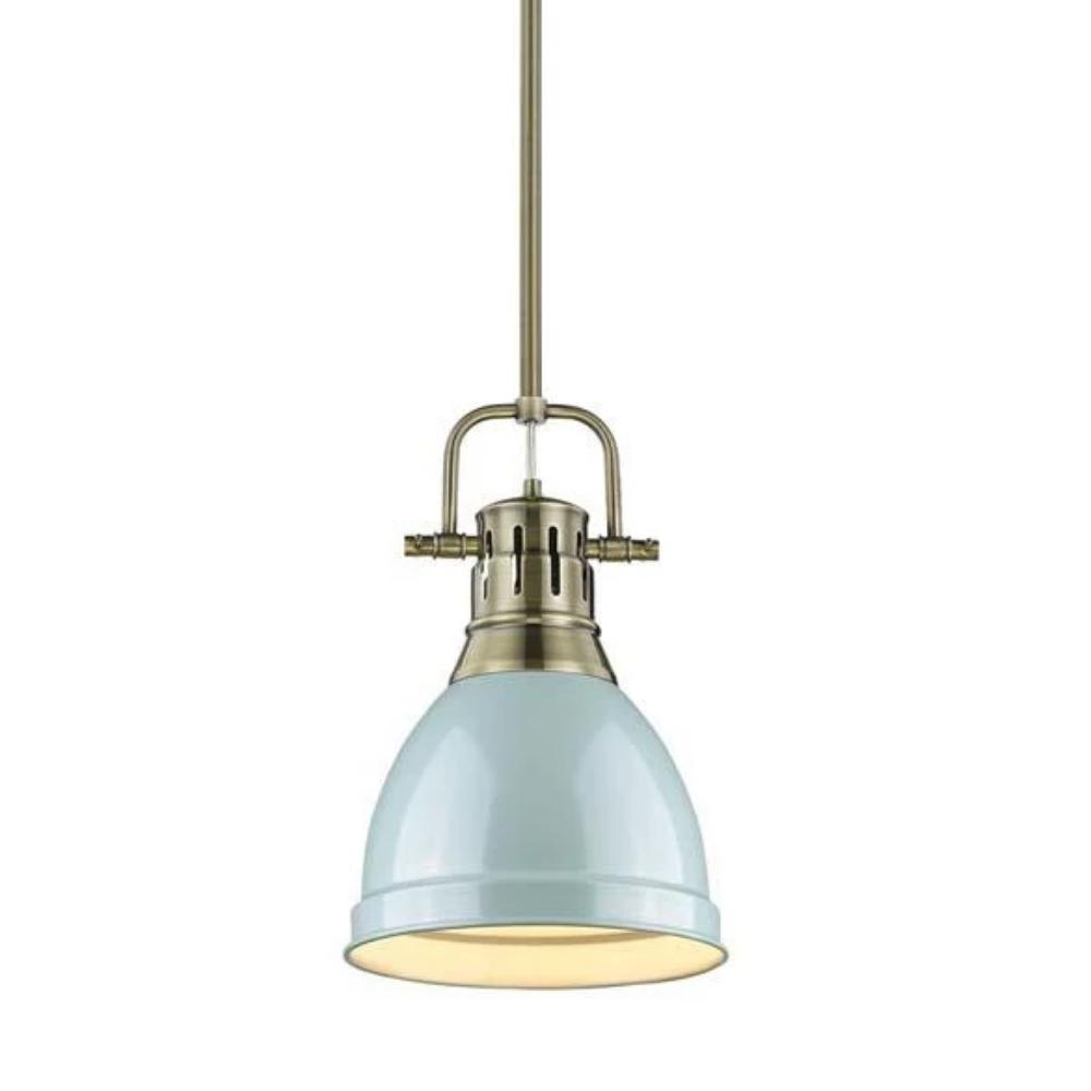 Duncan Small Pendant with Rod, Aged Brass, Seafom Shade