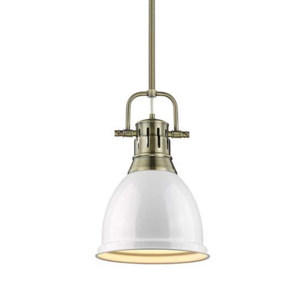 Duncan Small Pendant with Rod, Aged Brass, White Shade