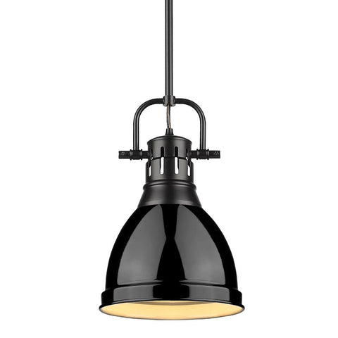 Duncan Small Pendant with Rod, Black, Black Shade