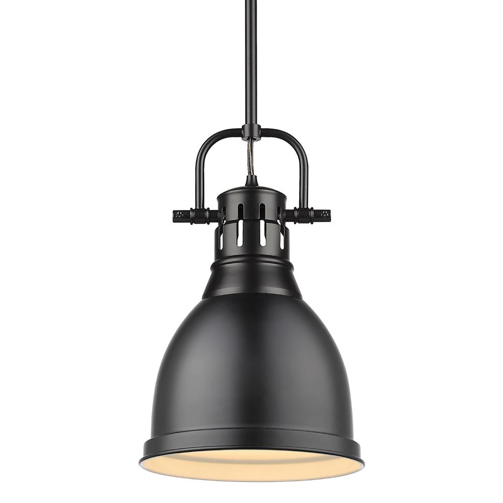 Duncan Small Pendant with Rod, Black, Matte Black Shade