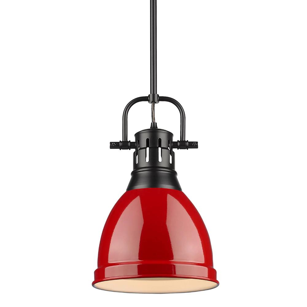 Duncan Small Pendant with Rod, Black, Red Shade