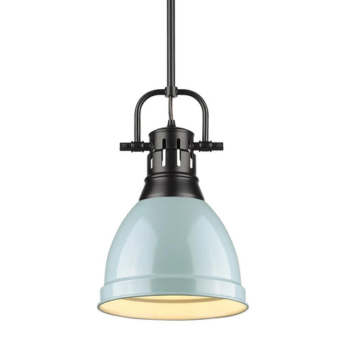 Duncan Small Pendant with Rod, Black, Seafom Shade