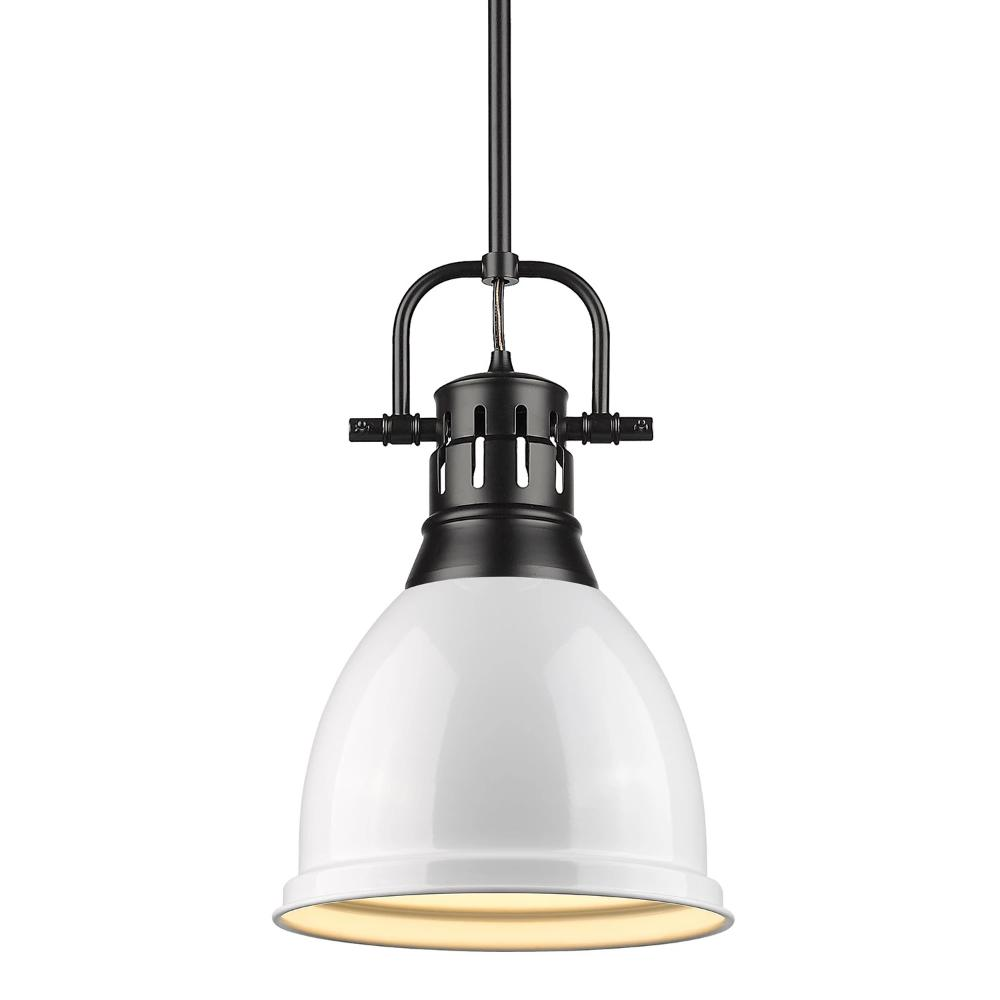 Duncan Small Pendant with Rod, Black, White Shade