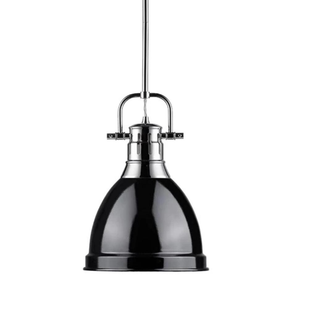 Duncan Small Pendant with Rod, Chrome, Black Shade