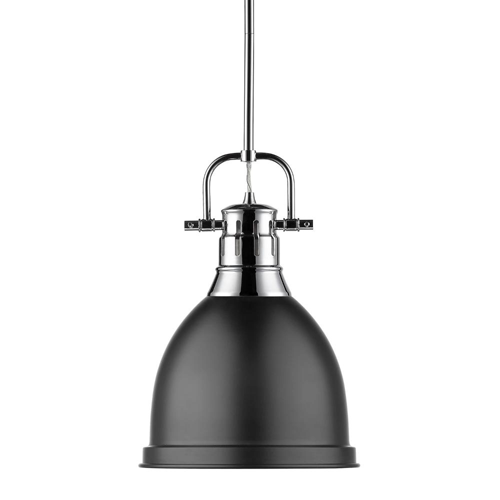 Duncan Small Pendant with Rod, Chrome, Matte Black Shade
