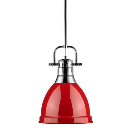 Duncan Small Pendant with Rod, Chrome, Red Shade