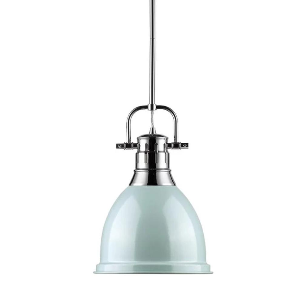 Duncan Small Pendant with Rod, Chrome, Seafoam Shade