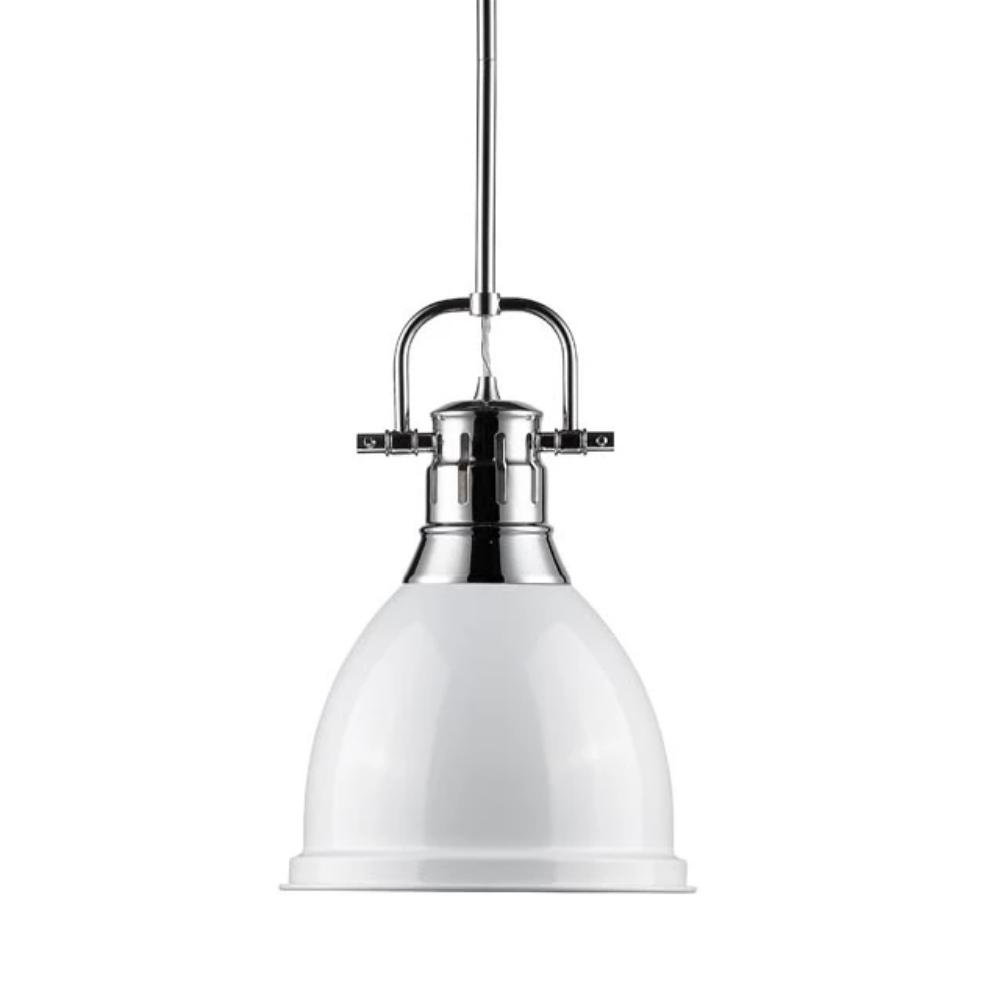 Duncan Small Pendant with Rod, Chrome, White Shade