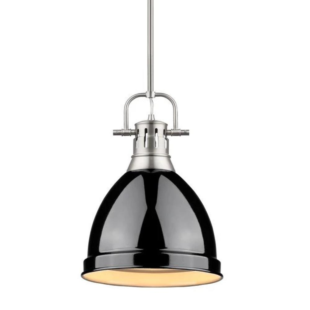 Duncan Small Pendant with Rod, Pewter, Black Shade