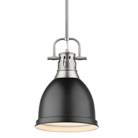 Duncan Small Pendant with Rod, Pewter, Matte Black Shade