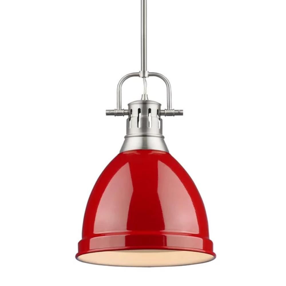 Duncan Small Pendant with Rod, Pewter, Red Shade