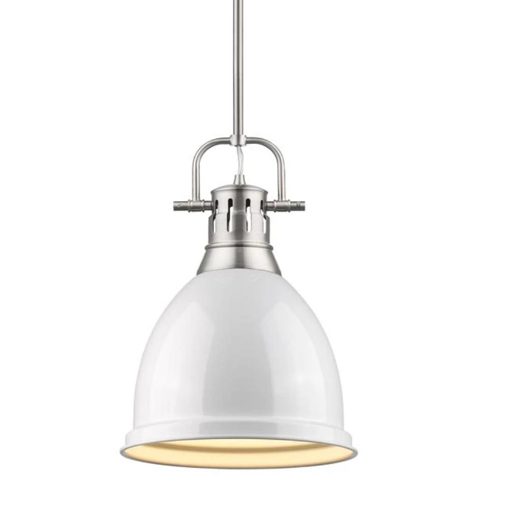 Duncan Small Pendant with Rod, Pewter, White Shade