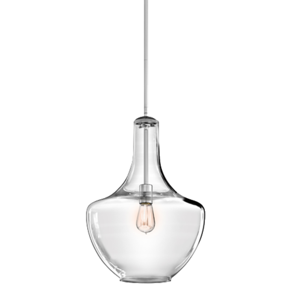 1 Light Everly Pendant in Chrome with clear glass by Kichler 42046CH