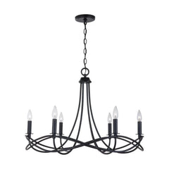 Sonnet Chandelier, 6-Light Chandelier, Matte Black