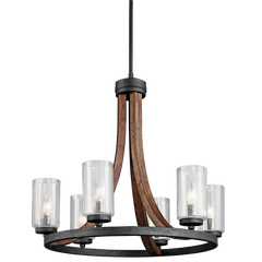 6 Light Grand Bank Chandelier in Auburn Stained by Kichler 43193AUB