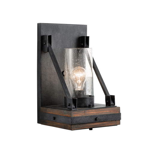Auburn Stained Wood and Distressed Black Colerne Wall Sconce by Kichler 43436AUB
