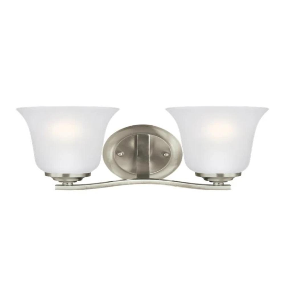 Hanover 2-Light Vanity, Vanity, Brushed Nickel