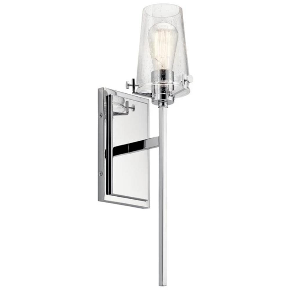 Alton Sconce, 1-Light Wall Sconce, Chrome, Clear Seeded Glass