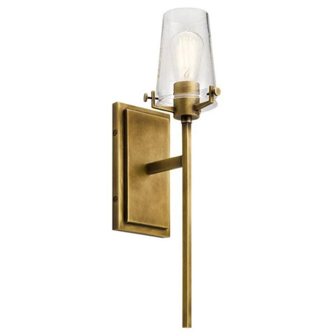 Alton Sconce, 1-Light Wall Sconce, Natural Brass, Clear Seeded Glass