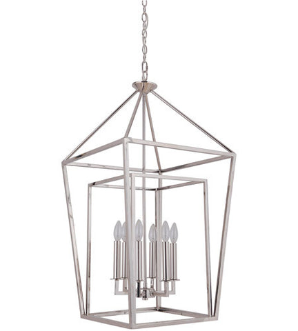 Hudson 6 Light Cage Pendant in Polished Nickel by Artcraft 45836-PLN