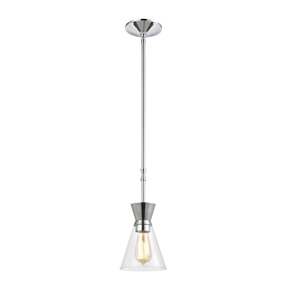 Modley Mini Pendant, 1-Light Pendant, Polished Chrome, Clear Glass