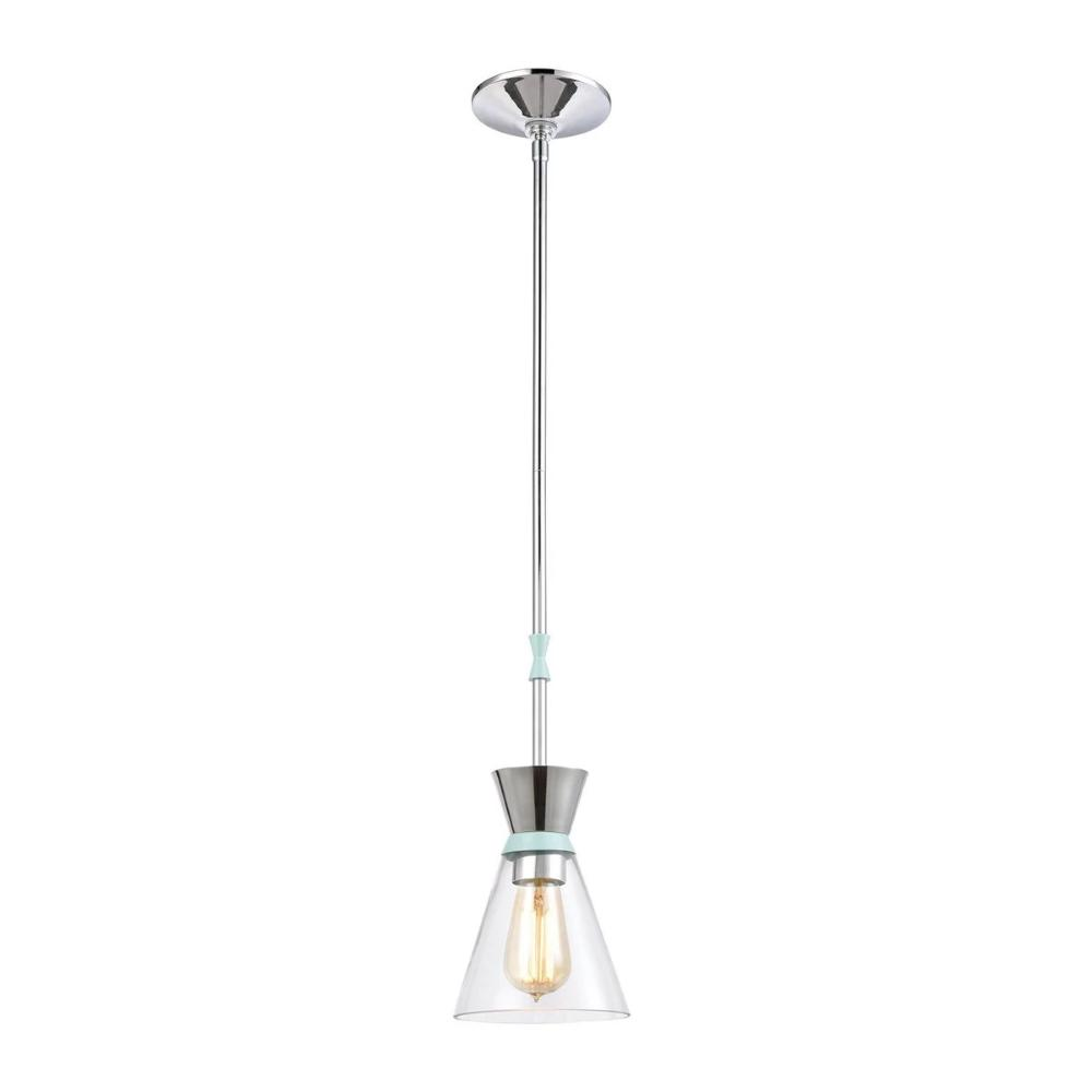 Modley Mini Pendant, 1-Light Pendant, Pastel Aqua, Clear Glass, Polished Chrome