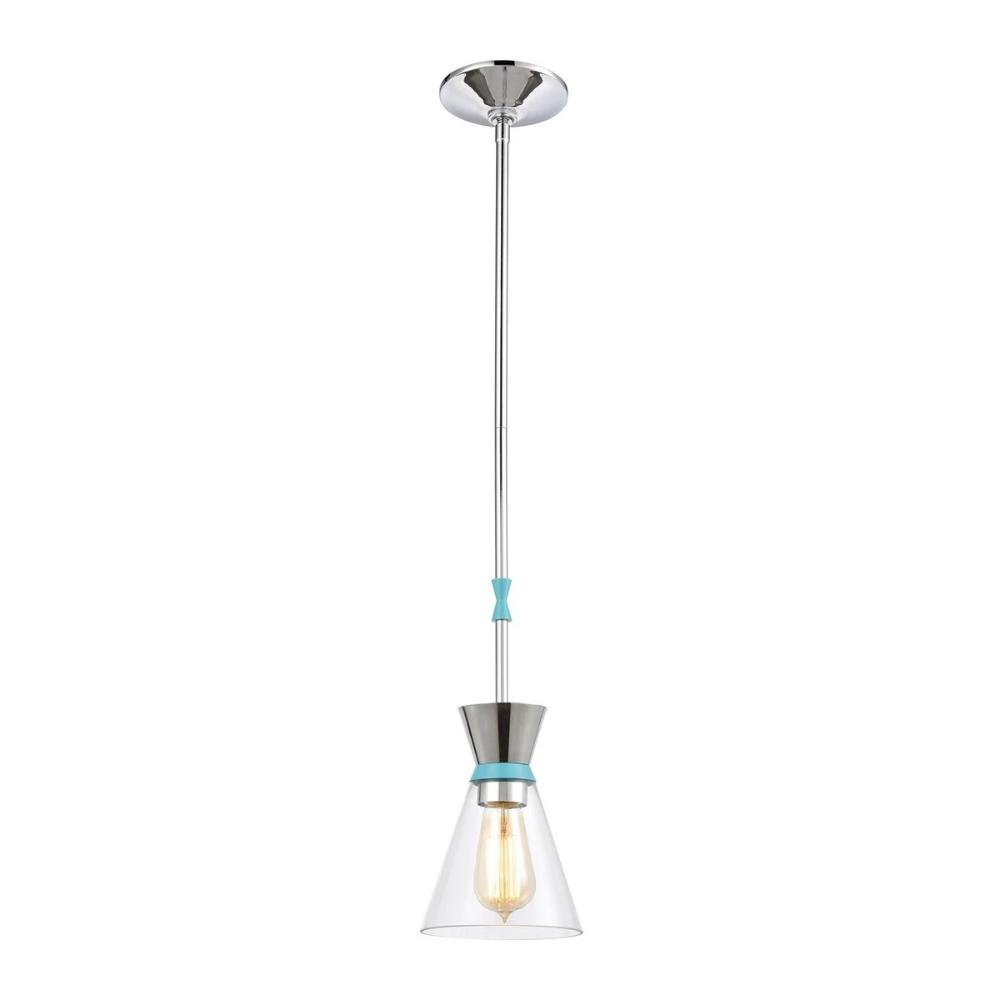 Modley Mini Pendant, 1-Light Pendant, Pastel Blue, Clear Glass, Polished Chrome