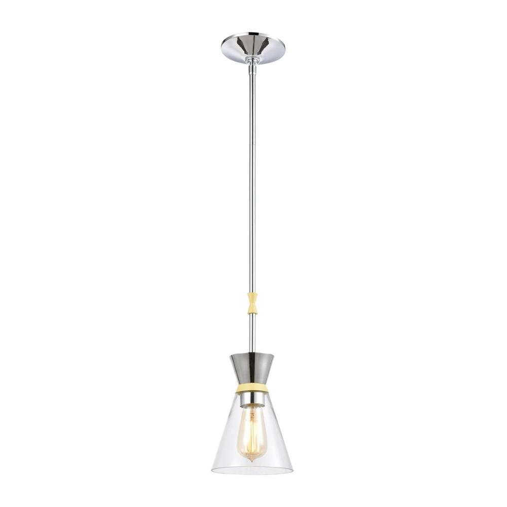 Modley Mini Pendant, 1-Light Pendant, Pastel Yellow, Clear Glass, Polished Chrome