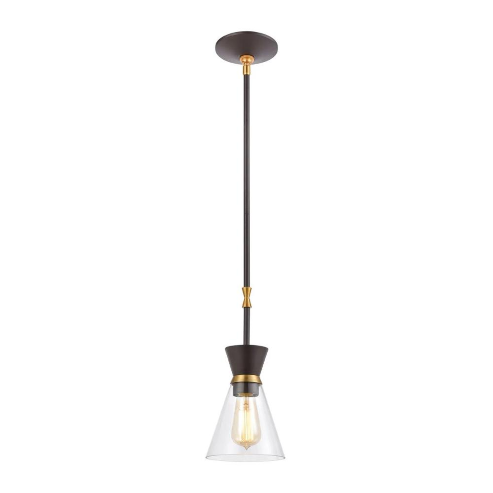Modley Mini Pendant, 1-Light Pendant, Oil Rubbed Bronze, Clear Glass, Burnished Brass