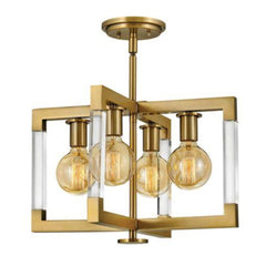 Kellen Semi-Flush Mount, Flush Mount, Lacquered Brass
