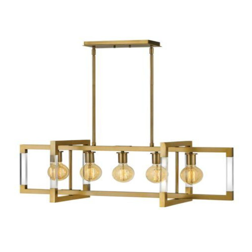 Kellen 5-Light Linear Chandelier, Chandelier, Lacquered Brass