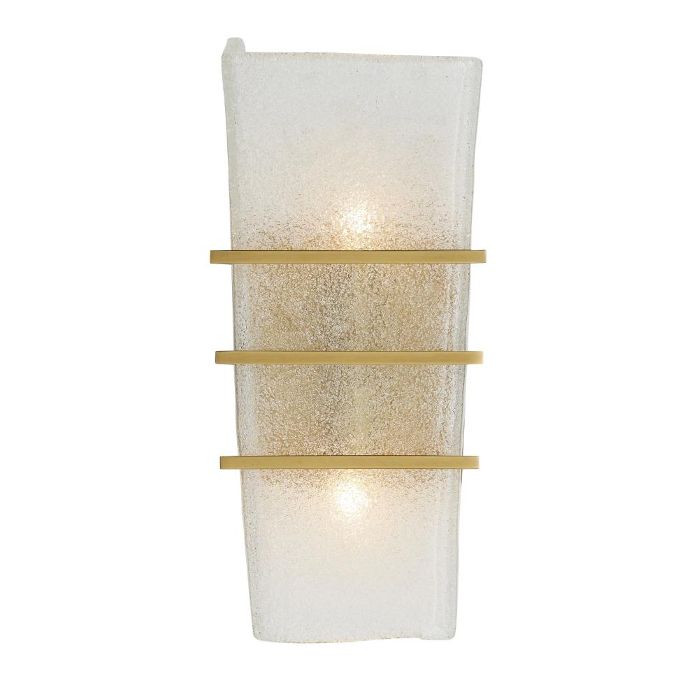Coleman Sconce, 2-Light Wall Sconce, Antique Brass, Clear Seeded Glass