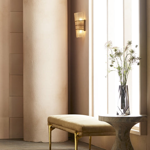 Lifestyle Shot of Coleman Wall Sconce, 2-Light Wall Sconce, Antique Brass, Clear Seeded Glass