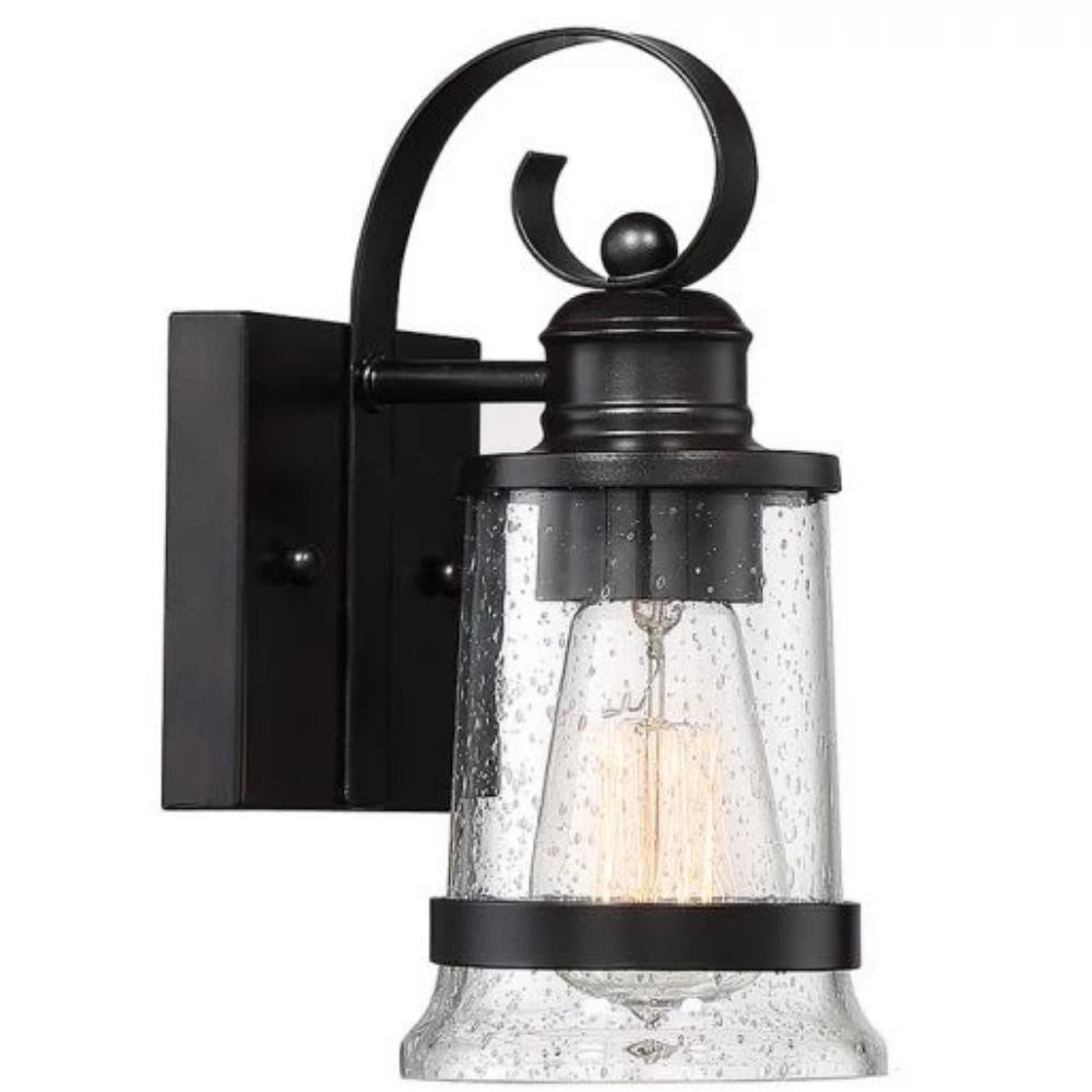 Profile View of Small Winston Lantern, 1-Light Outdoor Wall Lantern, English Bronze, Clear Seeded Glass