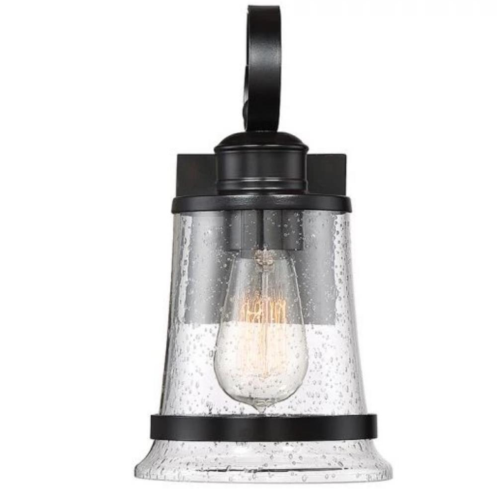 Medium Winston Lantern, 1-Light Outdoor Wall Lantern, English Bronze, Clear Seeded Glass