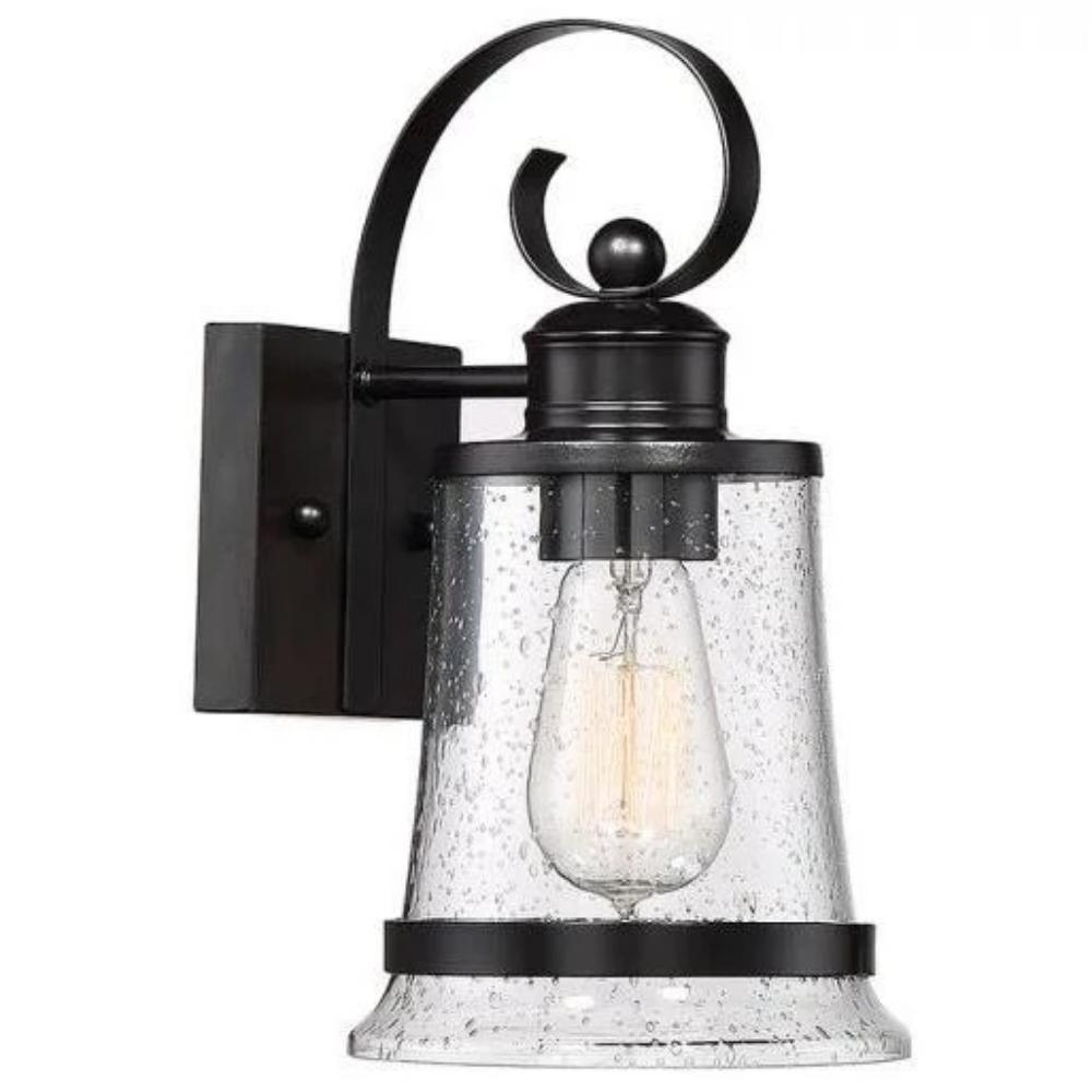 Profile View of Medium Winston Lantern, 1-Light Outdoor Wall Lantern, English Bronze, Clear Seeded Glass