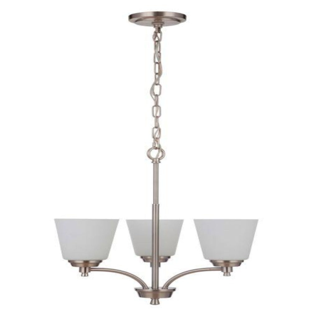 Sutton 3-Light Chandelier, Chandelier Brushed Nickel