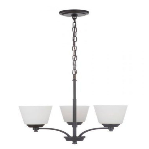 Sutton 3-Light Chandelier, Chandelier, Matte Black