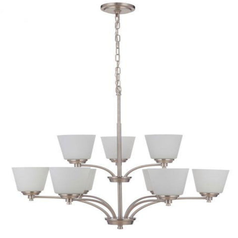 Sutton 9-Light Chandelier, Chandelier, Brushed Nickel
