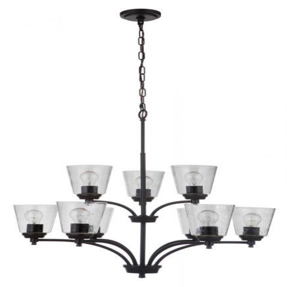 Sutton 9-Light Chandelier, Chandelier, Matte Black