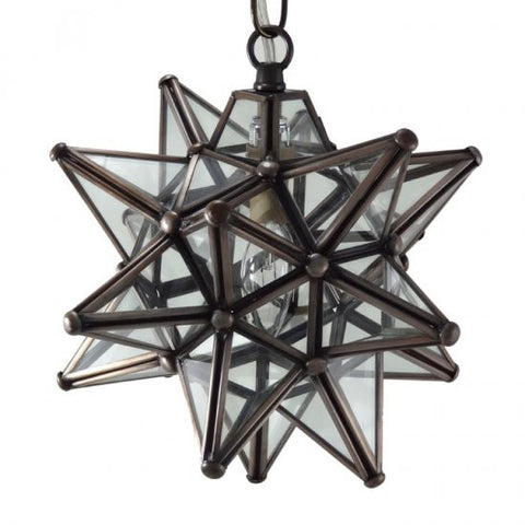 "9"" Moravian Clear Glass and Bronze Starlight 08CG-B"