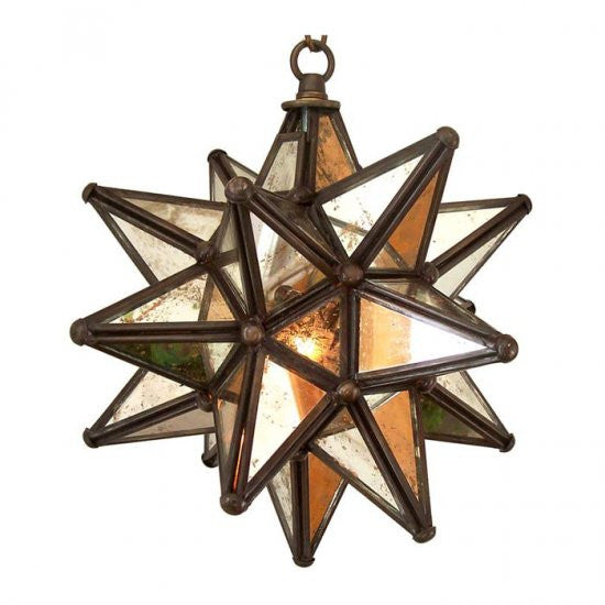 Moravian Antique Mirrored Glass Star Light 16 Inch